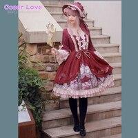 Классическое цельнокроеное платье в стиле Лолиты с кружевными оборками и принтом сказочных плиссированных темно красных платьев в стиле Л