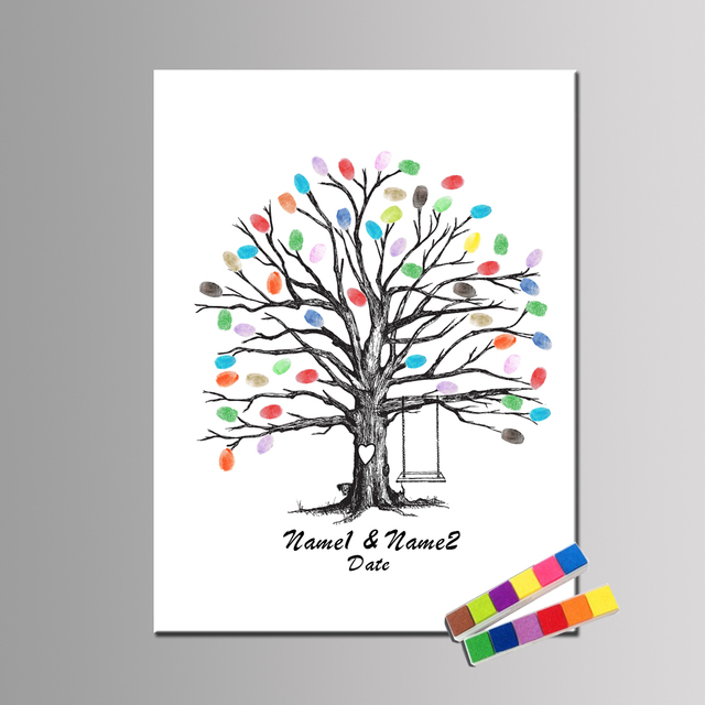 personalize fingerprint guest book love tree hand draw wedding gift