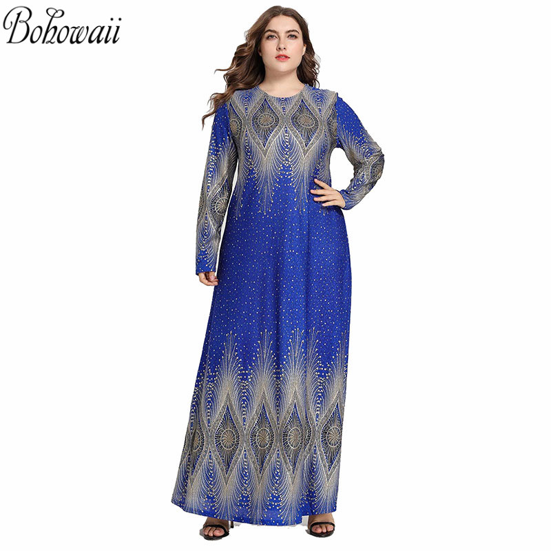 BOHOWAII mode lâche robe musulmane femmes Ramadan grande taille XXXXL Caftan Marocain à manches longues Bling Baju musulman Wanita