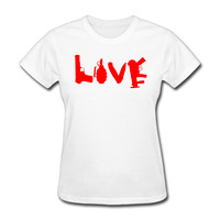 Women Love Gun Grenade Knife logo Vintage short sleeve Tshirts cotton White
