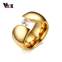 Vnox Luxury Solitaire Ring For Women Gold Color Stainless Steel Women Rings Engagement Anniversary Party Jewelry