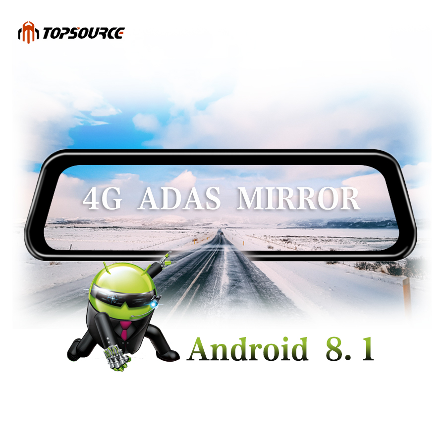 TOPSOURCE Car DVR 10 4G Dual lens Android 8 1 Rear View Mirror DVR 1080P Video