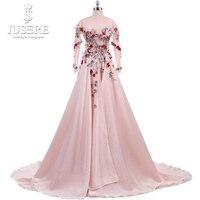 Длинные рукава спинки V 3D цветы лиф линия течет вниз плавно шелковый атлас Jewel декольте красивое розовое вечернее платье 2018