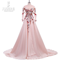Long Sleeves Backless V 3D flowers Bodice A line Flowing Down Smoothly Silk Satin Jewel Neckline Pink Lovely Evening Dress 2018