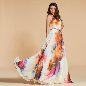 Image 2 - Dressv שמלת ערב סקופ צוואר קו אלגנטי ללא שרוולים באורך רצפת הדפסת מסיבת חתונה רשמי שמלת ערב שמלות