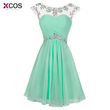3ff9f95896 Mint Green Short Prom Dresses Scoop Knee Length Cocktail Party Formal Cap  Sleeve Crystal Beaded Backless Prom Gown 2018