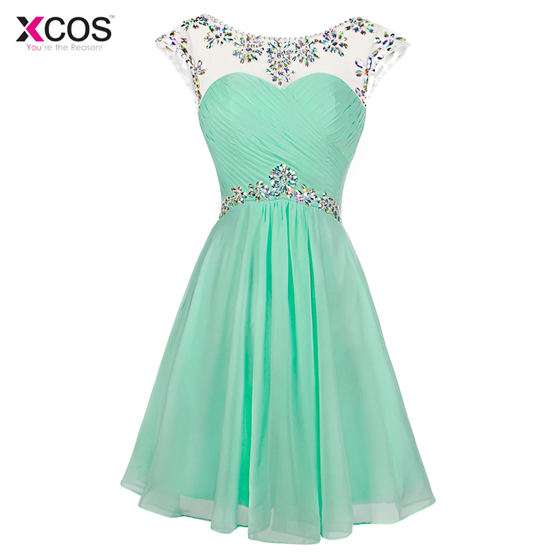 Mint Green Short   Prom     Dresses   Scoop Knee Length Cocktail Party Formal Cap Sleeve Crystal Beaded Backless   Prom   Gown 2018