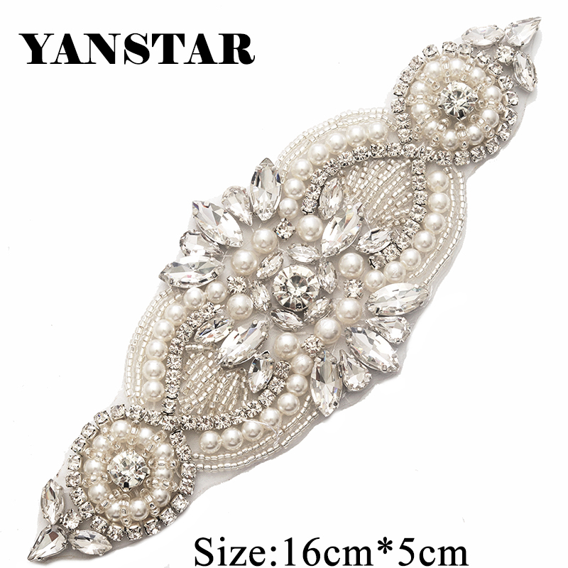 YANSTAR(5 pcs) Wholesale Plus Size Rose Gold Rhinestones Appliques Clear  Crystal With Pearl 9b62d658d19c