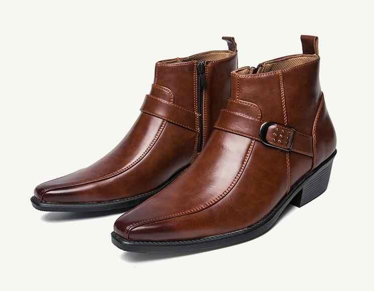Мужские модельные кожаные ботильоны на молнии; коллекция 2019 года; осенние мужские мотоциклетные ботинки в британском стиле ретро; повседневная обувь; Черная Пряжка; Zapatillas