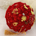 customized 24cm red wedding bouquets ramo de novia bouquet fleur mariage bruidsboeket bouquet sposa cristallo Brooch Flowers