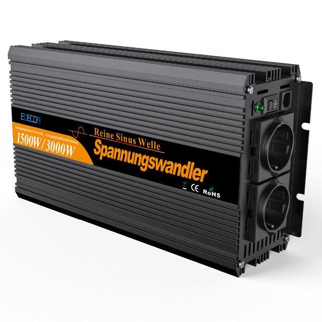 Onda sinusoidale pura DC 24 V a AC 220 V 1500 w di Picco 3000 w telecomando inverter di potenza di alta convertitore di qualità