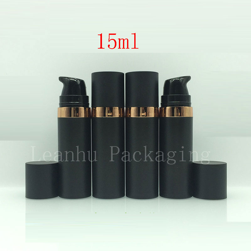 15ml Black Empty Cosmetic Sample Bottle Airless Pump 15g Skin Care Personal Care Plastic Airless Lotion Cream Sample Containers