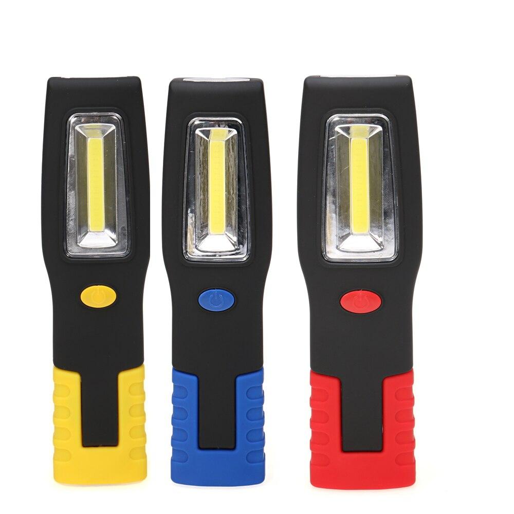 Portable led magnétique lampe de poche cob lampe de travail torche tente lampe à piles lumière avec crochet jaune/rouge/bleu sur vente