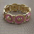 [$5 Minimum]  2017 New Hot Sell Fashion Gold Tone Pink Round Heart Elastic Bracelet Girls Lady VNA Free Shipping