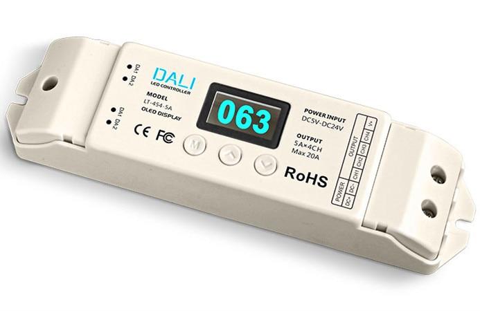 ФОТО LT-454-5A;DALI to PWM CV Dimming Driver;DC5-24V input;5A*4CH Max 20A output;DALI digital dimming signal input