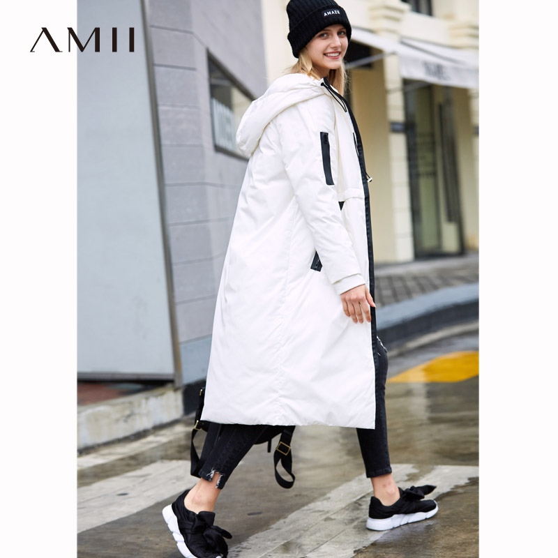 Amii  Jacket Women Winter Causal Solid 90% White Duck Down Zipper Long Parkas Coat Hooded Jackets 11820180