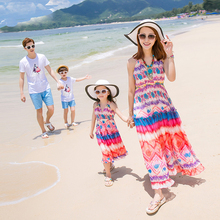 Mother Daughter Chiffon Dresses New Summer Beach Vacation Family Matching Clothes T-Shirt +shorts Set