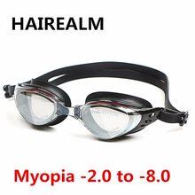 Nova Adulto Prescrição Óptica óculos de Miopia óculos de Natação Óculos de Natação de Silicone Anti-fog Revestido de Água óculos de Natação Óculos de dioptria