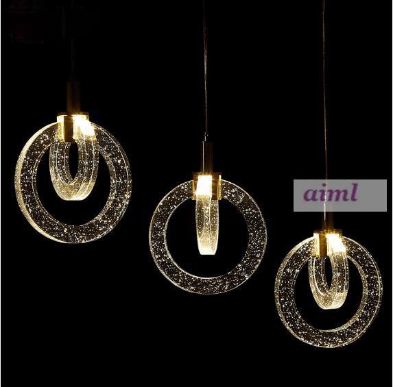 K9 crystal annular air bubble Pendant Lights 90-260V Pendant lamps LED originality crystal pendent lamp K9 crystal Restaurant 3 rings k9 crystal pendant lamp diamond