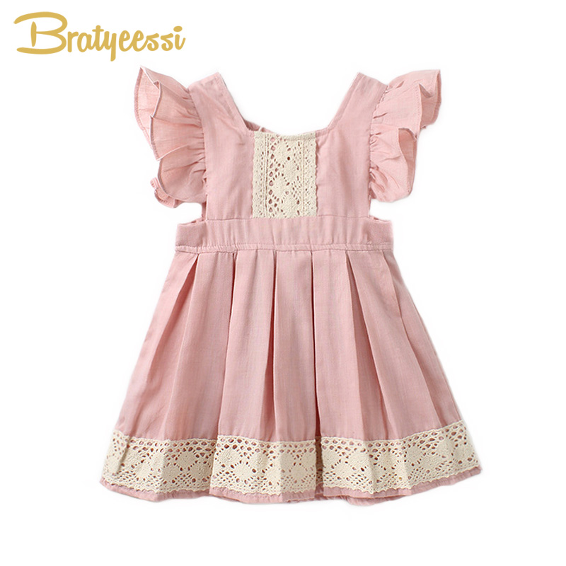 Pink Princess Vestido Infantil Ruffles Sleeve A-Line Baby Dress Cotton Cute Kids Girls Dresses Baby Girl Clothes