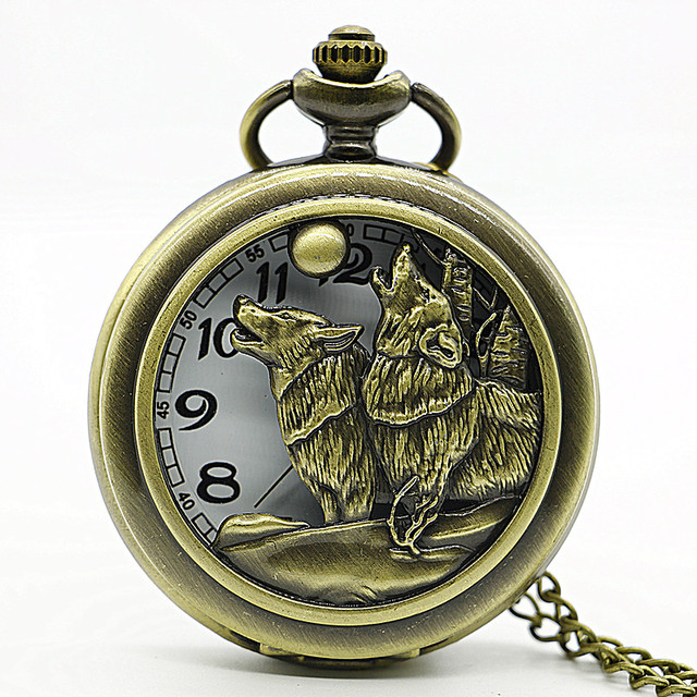 2017 New Arrival Vintage bronze Moon Wolf Pocket Watch Necklace Pendant Gifts Cl