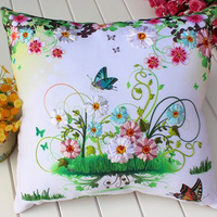 Euro New Ribbon Embroidered Pillow Flowers Butterflies Fly 3d Precision Printing Pure Manual Pillows Sitting Room
