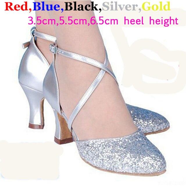 Plata Lentejuelas Zapatos de Salsa Salón Tango Oro Colores Baile 5 Negro Mujeres de Rojo Azul EqfxRnS0H