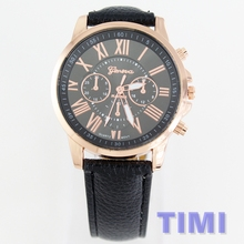 Rose Gold side frame TIMI 2018 Fashion Rome digital Leather Watchband Men Women quartz wristwatches