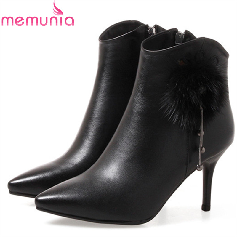 MEMUNIA Sexy lady womens boots in spring autumn fashion shoes cow leather boots thin heels shoes woman ankle boots party memunia cow leather boots woman top quality ankle boots high heels shoes platform womens boots spring autumn black lace up