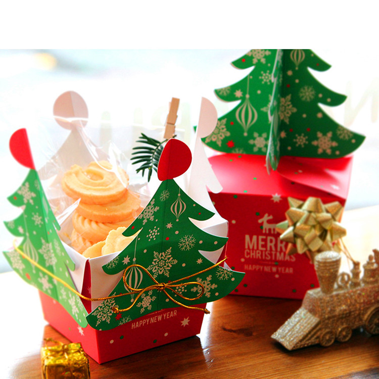 50pcs 2 sizes christmas decoration christmas tree candy box paper boxes apple gift box favor box with wedding red in gift bags wrapping supplies from home - Decorative Christmas Boxes
