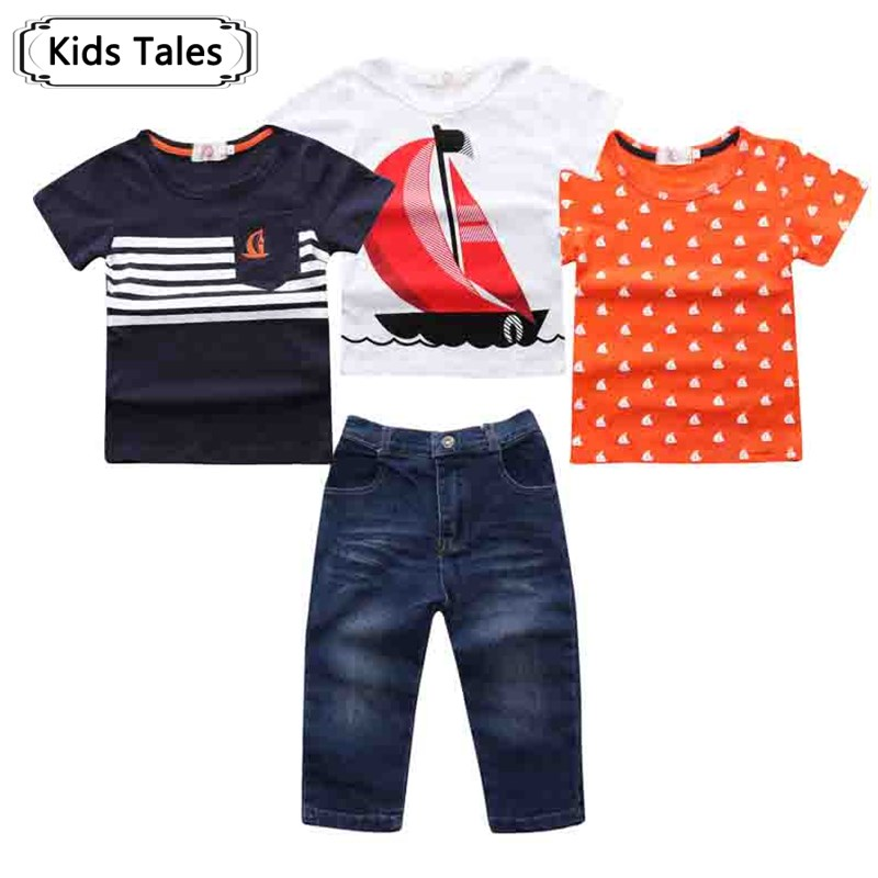 Retail 2017 NEW summer boys clothes 4 pcs. With Short Sleeve + Denim Pants in Summer Clothing Sets ST255