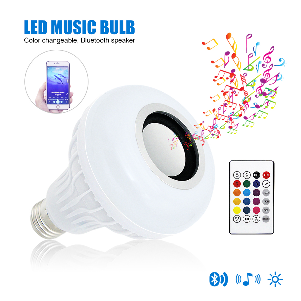Multicolor Changeable E27 LED Lamp Dimmable Music Light Bulb AC 100V 220V Remote Control Wireless Bluetooth Speaker Night Light