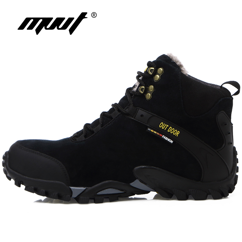 Winter With Fur Men Hiking Shoes Waterproof Snow Outdoor Boots Keep Warm Snow Men Sneakers yin qi shi man winter outdoor shoes hiking camping trip high top hiking boots cow leather durable female plush warm outdoor boot