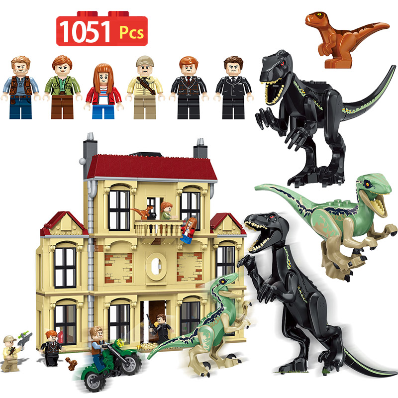1046 pièces Monde Jurassique Dinosaure Indoraptor Saccage À Lockwood Immobilier Compatible LegoINGlys 75930 Bâtiment jouets blocs Pour Garçon