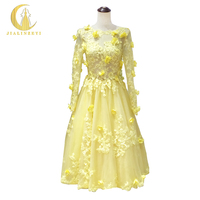 Rhine Real Sample Image Yellow Long Sleeves Lace Apliques Knee Length Party Prom Dresses 2016