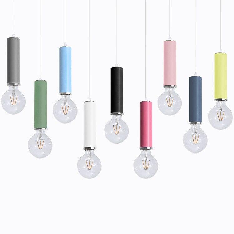 Scandinave Makaron couleur lustre post-moderne créatif ampoule lustre nouveau mini bar lustre