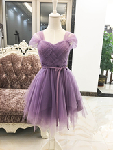 Purple Cheap Short Bridesmaid Dress Short Sleeves Dress for Wedding Party Empire Ball Gown Sweetheart Formal Plus Size Elastic