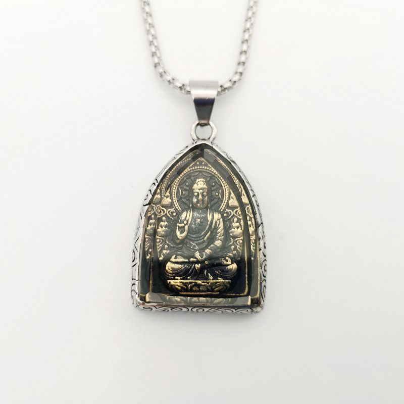 Statement Necklace Vintage Buddha Pendant Buddhist Necklace Buddha Religious stainless steel Necklace hip hop Jewelry CAGF0313 in Pendant Necklaces from Jewelry Accessories
