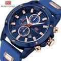 Мужские кварцевые часы MINI FOCUS, водонепроницаемые армейские спортивные часы синего цвета - фото