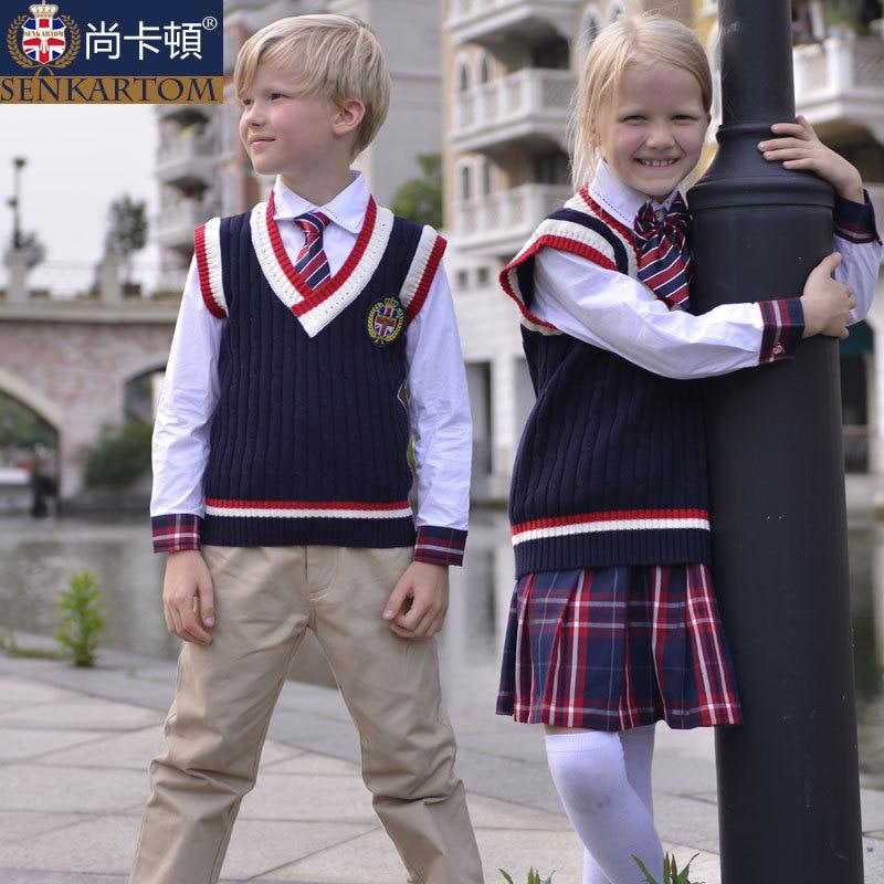 british school yard style 100% cotton cardigan waistcoat uniform set 4 Pcs,size 3T-20t, fall children vest - SENKARTOM Official Store store