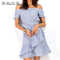 YI NOKI Women Summer Fashion Dress Casual Sexy Off The Shoulder Sling Stripe Dress Long Dresses