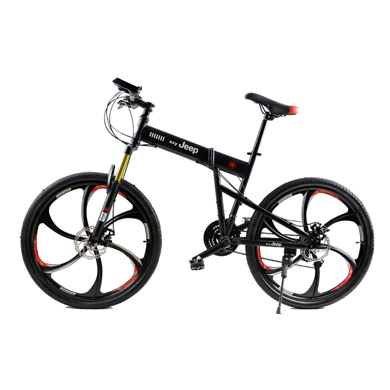 HAOYUKNIGHT Folding Mountain Bike Bike Round 26inch 21-speed  Student Male and Female Lock Front Fork Cross Country Bicycle snow bike for man and women front and rear mechanical disc brake mountain bike big tire 26 inch 21 speed folding fat bike