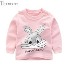 Брендовые футболки с длинными рукавами для маленьких девочек, детская одежда, Детский костюм с принтом кролика, футболки