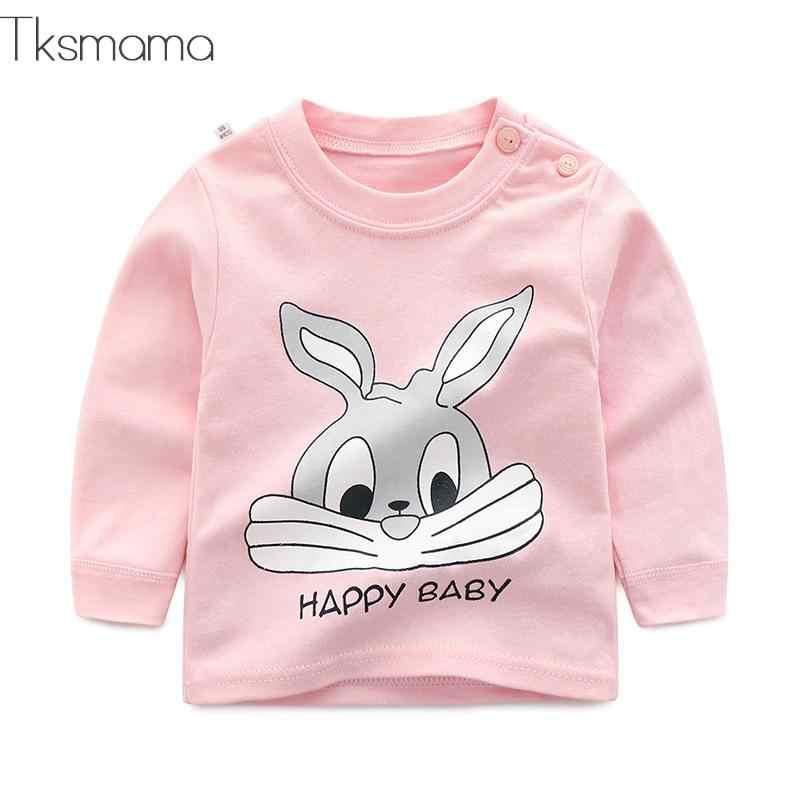 Merek Bayi Lengan Panjang Anak Perempuan T-shirt Pakaian Anak Pakaian Anak Kelinci Cetak Kostum Top Tees