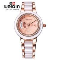 WEIQIN Women Watches Date Fashion Rhinestone Rose Gold Wrist Watch Business Dress Quartz Watch Ladies Clock