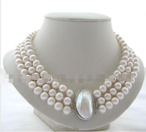 10X10 jewerly free shipping  Charming 17-19 3row 10mm natural white round freshwater pearl necklace10X10 jewerly free shipping  Charming 17-19 3row 10mm natural white round freshwater pearl necklace