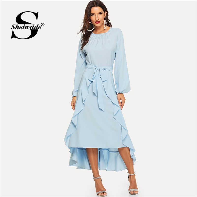 Sheinside элегантное платье с рукавом-фонариком и поясом с рюшами для женщин 2019 весенние синие асимметричные платья с подолом для женское длинное платье