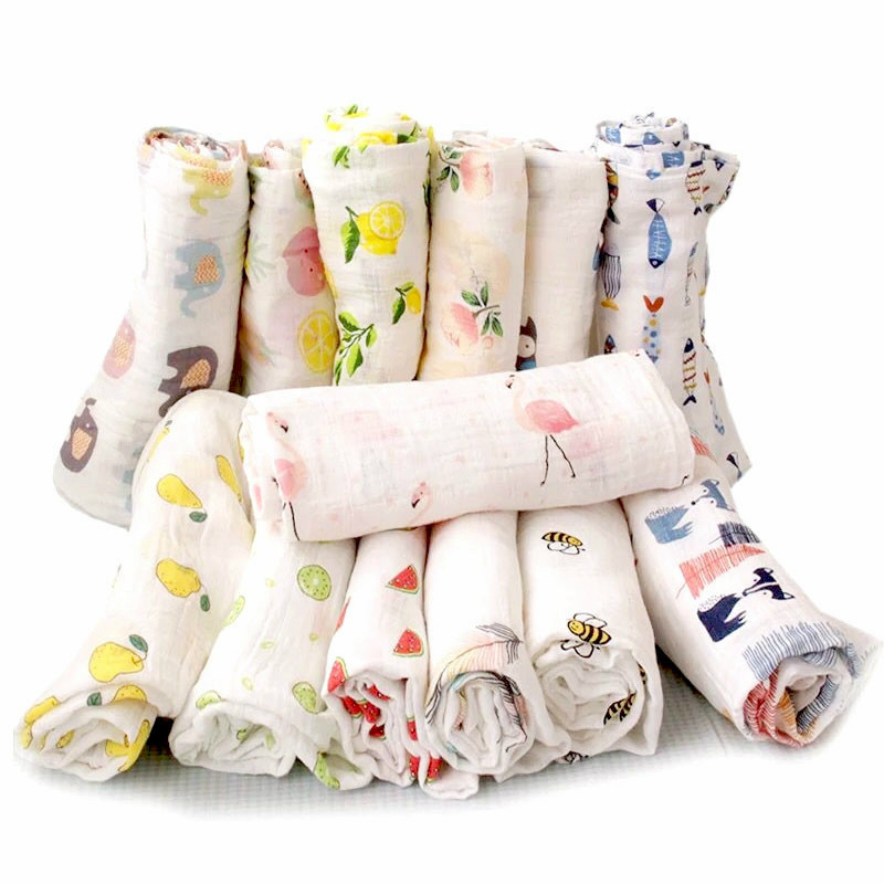 Organic Cotton Swaddle Blanket Flamingo Print Muslin Baby Blankets Infant Swaddle Towel For Newborns Baby Wrap Kids Bed Sheet