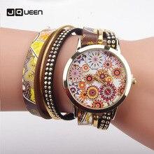 Quartz Watches Girls Leather-based Bracelet Wristwatch Printing Lengthy Chain Women Clock Relogio Feminino
