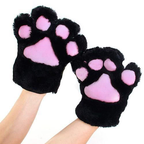 1 Pair Anime Cosplay Party Costume Cute Cat Bear Plush Paw Claw Gloves for Party 5 Colors